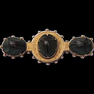 Victorian 14kt scarab beetle brooch