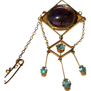 Vintage 9kt amethyst and blue paste brooch
