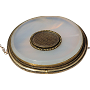 Victorian chalcedony mourning brooch