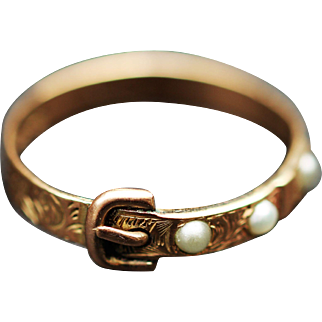 Victorian 9kt buckle ring with seed pearls, hallmarked