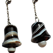 Victorian banded agate bell earrings