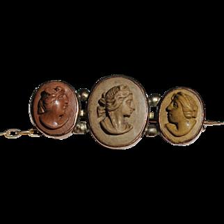 Victorian lava cameo pin/brooch