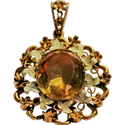 Antique citrine pendant set in 18kt gold