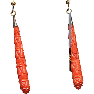 Victorian carved coral drop earrings