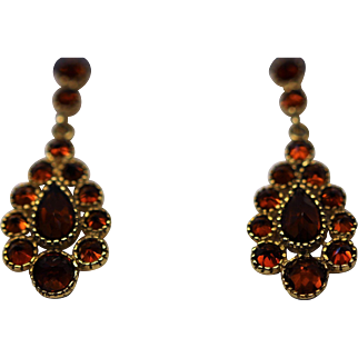 Vintage garnet 9kt gold drop earrings