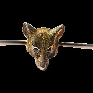 Vintage 9kt fox head pin