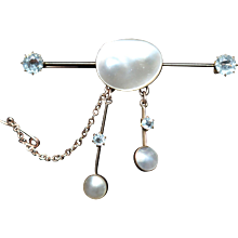 Antique 9kt brooch with mabe pearls and aquamarines