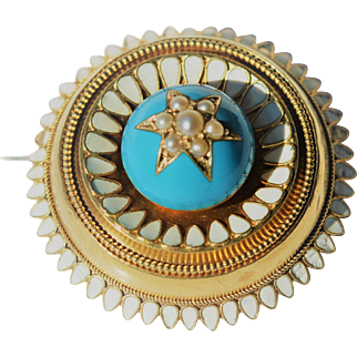 Victorian 14kt blue enamel and seed pearl brooch