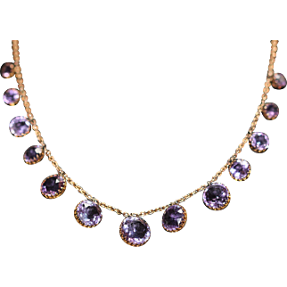 Victorian amethyst set 9kt necklace