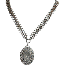 Victorian silver collar necklace and locket
