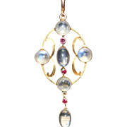 Edwardian 9kt moonstone and ruby pendant and chain