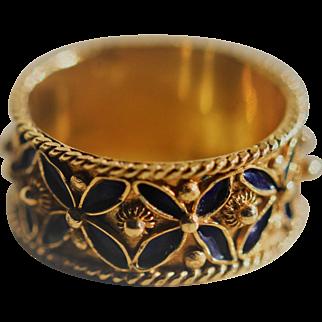 Antique 14kt enamelled ring