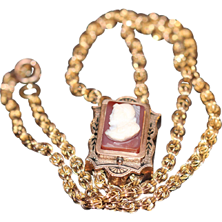 Victorian double link gold filled necklace and slide/pendant