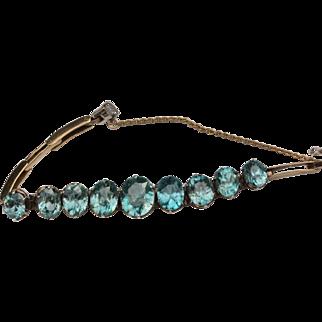 Edwardian blue zircon 9kt bracelet