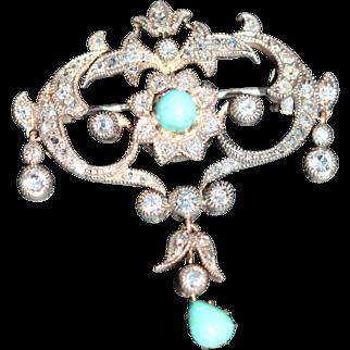 Georgian turquoise and diamond brooch