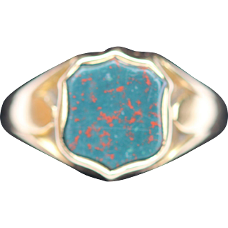 1919 Shield bloodstone 18kt signet ring