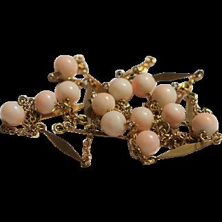 18kt gold Angel skin coral necklace