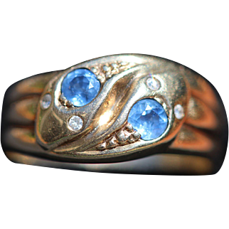 Vintage 9kt sapphire and diamond snake ring