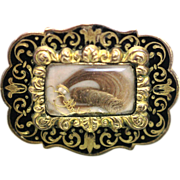 Victorian gilt and enamel mourning brooch
