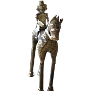 Charming 19th Century Cast Bronze Tribal Sculpture Horse and Rider
