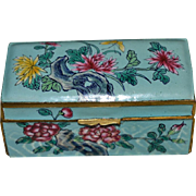Famille  Verte Enamel Stamp Box: Circa 1930's China
