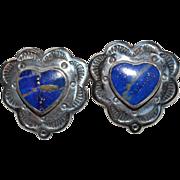 Lovely South Western Lapis Lazuli Heart Earrings set in Sterling Silver