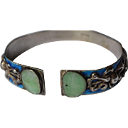 Early Republic Era Jade and Silver bracelet from Tibet