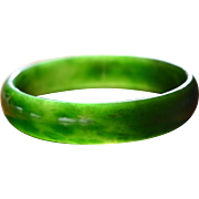 Gem Quality Natural Jade Bangle Bracelet : Apple Green 65 mm x 15 mm