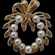 Cultured Pearl and Diamond Pin - Pendant 14 Karat Gold