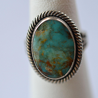 Chrysocolla  and Sterling Silver ring size 4.5