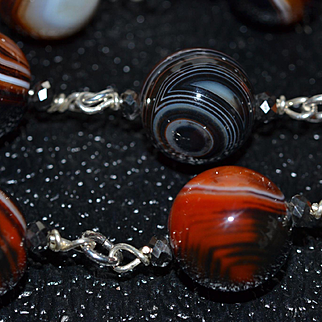 Spectacular Bulls Eye Agate Beads with Sterling Silver and  Czechoslovakian Crystal : Artisan Made