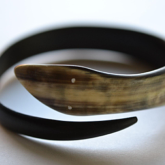 Carved Buffalo Horn Serpent Bracelet: Circa 1920's Italy