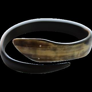 Carved Buffalo Horn Serpent Bracelet: Circa 1920's Italy