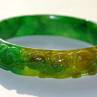 Carved Jadeite Bangle Bracelet:  All Natural with GIA Certificate