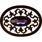 Antique Edwardian Brooch with Amethyst Glass Cabochon