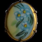 Hand Painted Edwardian Porcelain Pin : Corn Flower Blue