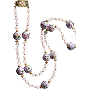 Rose Garden Necklace and Earring Set:  Genuine Venetian Glass , Rose Quartz and Swarovski Crystals