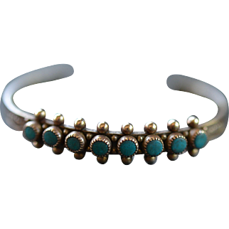 Native American Turquoise and Sterling Silver Bracelet:  Mid Century Arizona
