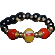Oxblood Coral, Black Onyx and Antique Venetian Glass Ring set in 14 Karat Gold-filled