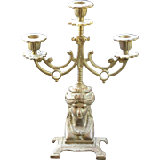 Stunning Egyptian Revival Candelabra with Three Holders:  Circa 1890