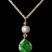Jadeite Teardrop pendant with Japanese Cultured Pearl and 14 Karat Gold