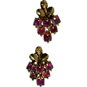 Beautiful Red Spinel Earrings with 14 Karat Rose gold settings, Bunch of Grapes Motiif