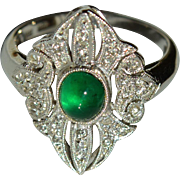 Natural Emerald and Diamond Ring in 18 Karat White Gold : Art Deco Style