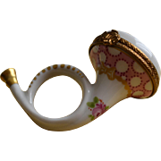 Limoges Porcelain French Horn Box Circa 1950