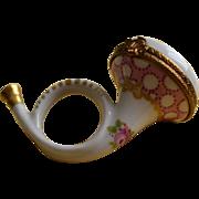 Limoges Porcelain French Horn Box Circa 1950