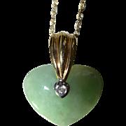 Celadon Jadeite Heart set in 14 Karat Yellow Gold with Diamond