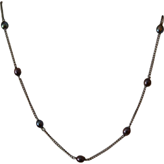 Titanium and Black Pearl Necklace