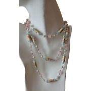 Romantic Venetian Glass Wedding Cake Bead Necklace with Sterling Silver, Rose Quartz and Swarovski Crystal:  Drop Waist Design