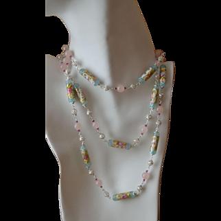 Romantic Venetian Glass Wedding Cake Bead Necklace with Sterling Silver, Rose Quartz and Swarovski Crystal:  Drop Waist Design