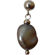 Dove Gray Baroque Fresh Water Pearl Earrings with Sterling Silver